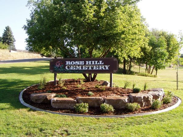 Rose Hill Cemetery sign and landscaping