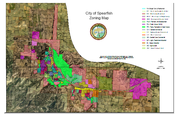 City Zoning Map with Aerial - 11 inch by 17 inch (PDF)