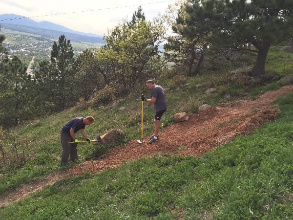 People performing trail maintenance at Lookout Mountain