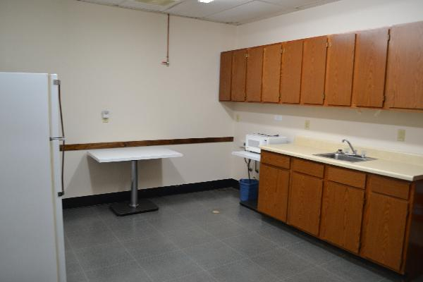 Kitchen at Hudson Street Hall with sink and counters